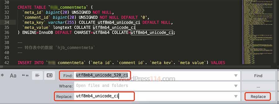 utf8mb4_unicode_520_ci替换utf8mb4_unicode_ci